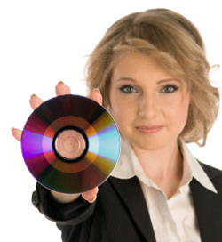 girl with dvd video disc